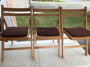 Set Of Three Folding Wood Chairs With Cushions