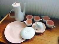 Poole Pottery Coffee Pot, Cups and Saucers, Sandwich Plate- Vintage/retro/shabby chic