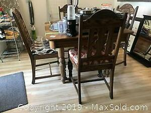 Vintage Oak Table And Chairs C