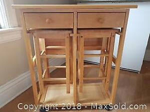 Portable Folding Wooden Kitchen Table with Stools.