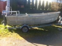 Heavy alumnium 14.5 ft seine skiff trailer and 30 hp yamaha