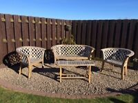 OAK AND WROUGHT IRON DOUBLE SEAT, TWO CHAIRS AND TABLE