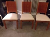 3 solid wood dining chairs in cherry wood finish and in good condition