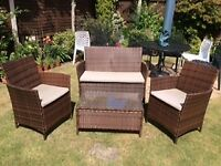 Brown rattan garden sofa set