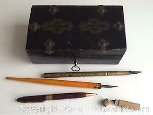 Antique Box And Old Pens