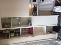 2 x cupboard/shelf units with half glass door