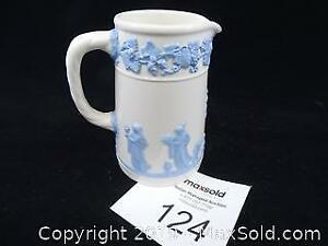 Wedgwood Queen's Ware Blue on Cream Pitcher