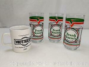 Hey Scarborough! Its 3 Vintage Frank Veteres Pizza Coke Glasses and Mothers Mug