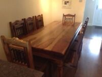 Stunning Jali solid hardwood dining table & 8 chairs