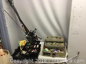 Large Fishing Lot Rods Reels Tackle And Tackle Box