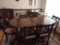 Regency style dining table with extension, and 6 chairs (inc 2 carvers)