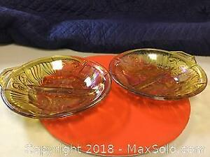 Pair of Carnival Glass Serving Dishes
