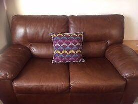 Sofology brown leather sofa