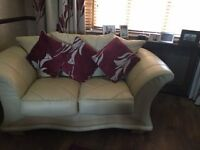 FREE Beige Leather 2 Seater Sofa and Chair