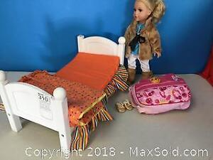 Beautiful Doll With Clothes And A Bed