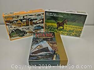 3 Sealed New Jigsaw Puzzles