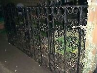 "PAIR HEAVY IRON GARDEN GATES - CLACTON ON SEA - CO15 6AJ - EACH GATE IS 48"" LONG - 96"" IN TOTAL"