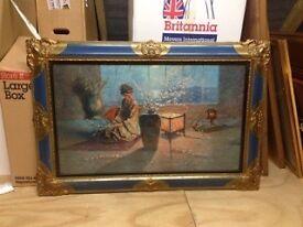 Colourful Print in Decorative Blue frame