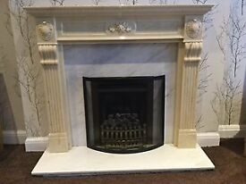 Gas fire & decorative surround with marble back & hearth