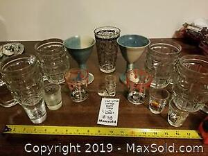 Goblets, shot glasses and drink mixing glass