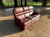 3 seter red leather sofa, needs sold asap