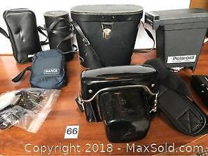 Lot Of Cameras, Accessories And Binoculars