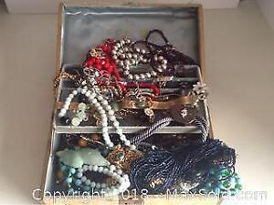 Lot Vintage Costume Jewelry In Old Jewelry Box