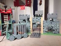Wooden Toy Castle with Siege Tower and Prison Cage