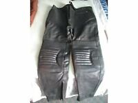 Black Leather Motorcycle Trousers..( Brand New ).