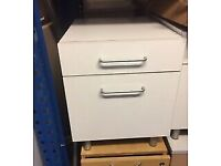 office filing pedestal cabinet white gloss 2 drawers