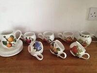 Portmeirion 6 piece cup/saucer set/2 jugs