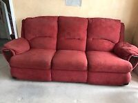 Good condition used 2 x 3 seater recliner fabric sofas as seen in the images