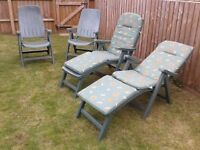 Folding garden armchair recliners x 4, plus cushions/leg-rest x 2