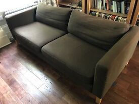 Large brown fabric sofa, good second hand condition