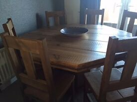 Solid Wood Octagonal Dining Table and 6 Chairs