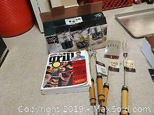 New BBQ cooking utensils, BBQ cooking book, and new Mason jar type drinking glasses