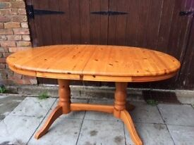 EXTENDING PINE DINING TABLE and SIX CHAIRS ( 2 carver)