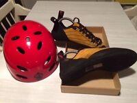 Climbing shoes/ Kayak helmet