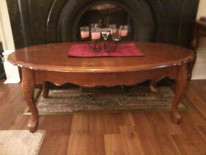 Vintage Solid Wood Coffee Table and One End Table