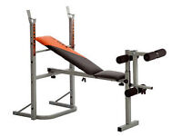 V- Fit bench + dumbbells and weights