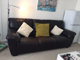 Large, 3 seater brown leather sofa, good condition