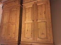 2 X double pine wardrobes