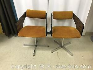 2 Vintage Velvet Dining Chair Lot A