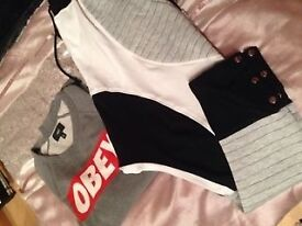 Brian Friedman drop crotch sweats NEW & Obey Sweatshirt