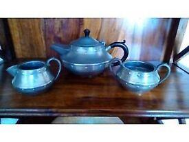 Vintage Craftsman Pewter 3 Piece Tea Set – Tea Pot, Jug and Sugar Bowl