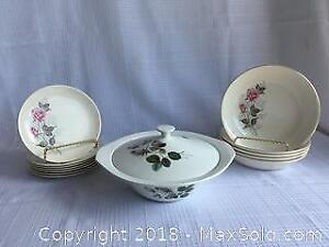 Rose dishes and covered casserole dish