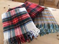 Three 100% Wool Tartan Blankets