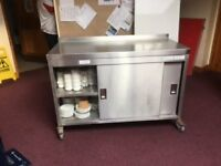 Cupboard, stainless steel, catering storage on wheels, excellent condition