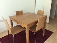 Wooden extendable table and dining chair set