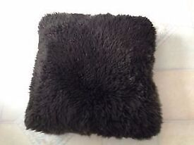 2 LARGE BROWN FUR CUSHIONS